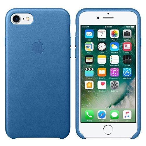 Original Apple Handyhülle Iphone 7 MMY42ZM/A Leder Leather Cover Case Bumper Schutzhülle für Apple Iphone 7 in Sea Blue Blau
