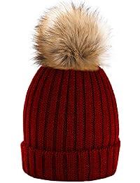 Unisexe Garçon Fille Skullies Bonnets Bonnet Fourré Hiver Pour Bonnet  Ticoté Avec Torsades Et Gros Pompon 7ccedb276fe