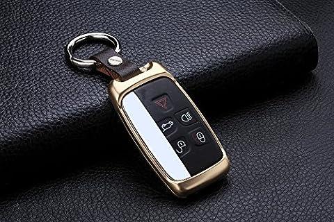 M.JVisun Schlüsselanhänger-Gehäuse für Jaguar XE, Jaguar XF, Jaguar XJ, Jaguar F-PACE, Jaguar F-Type; Gehäuse für Kfz-Funkschlüssel, aus Luftfahrt-Aluminium und Echtleder, gold