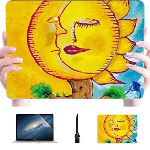 Schützende MacBook Pro Hülle Sleeping Moon Sun Tree Silhouette Person Kunststoff Hartschale Kompatibler Mac Mac 15-Zoll-Hülle Schutzzubehör für MacBook mit Mauspad