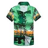 YEBIRAL Strand Hawaiihemd   Herren   Kurzarm   Lässig-Hemden   Hawaii-Print   Strand Palmen Meer   Palmenmotiv   Junggesellenabschied Hemd(EU-50/CN-XL,Grün-C)