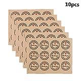 Stockton 120 Stück 3,8 cm Thank You Kraftpapier Aufkleber Etiketten für Hochzeit Party Gastgeschenk Dankeskarte Dankeskarten Stempel Aufkleber DIY Geschenkverpackungen (10 Blatt)