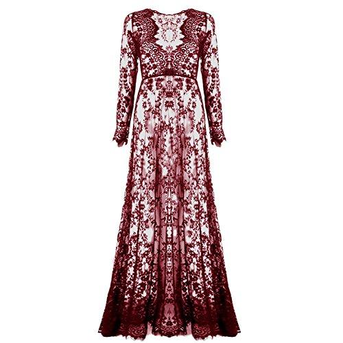 Etosell Robe Longue Dentelle De Femmes Rouge Du Vin