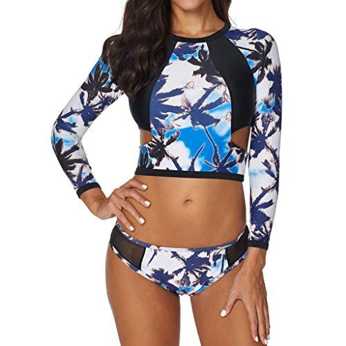 ESAILQ Frauen Set Sonnenschutz Surfanzug Push-Up Gepolsterter Wasserdichter BH-Badeanzug(X-Large,Blau)