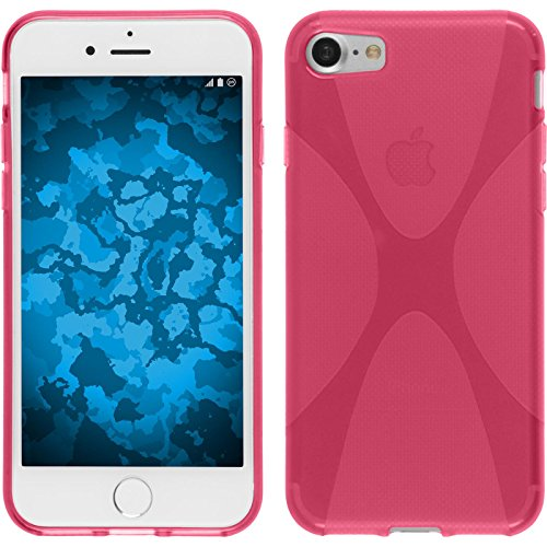 PhoneNatic Case für Apple iPhone 7 Hülle Silikon schwarz X-Style Cover iPhone 7 Tasche + 2 Schutzfolien Pink