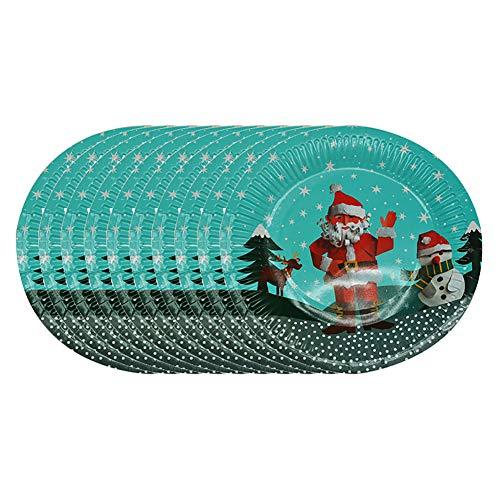 Demarkt 10 Stück Weihnachten Pappteller Einweg-Papierfach Dessert Obstschale Geschirr Party liefert für Catering und Party (Weihnachts-dessert-pappteller)