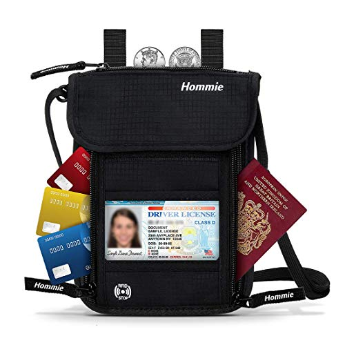 Pochette Tour de Cou Voyage Sécurité RFID Blocage, Portefeuille avec Protection Porte-Passeport 7 Poches Sacoche à Bandoulière Anti-Vol pour Ranger Votre Téléphone, Passeport, Carte Bancaire etc.