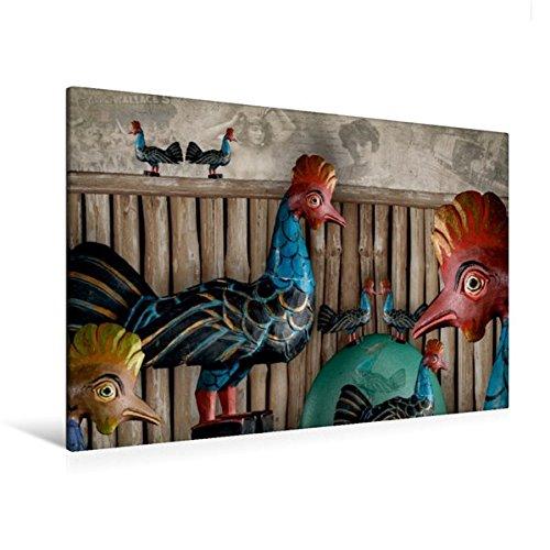 Calvendo Premium Textil-Leinwand 120 cm x 80 cm Quer, Freilaufende Hühner Sind Immer glücklich | Wandbild, Bild auf Keilrahmen, Fertigbild auf Echter Leinwand. Traum und Wirklichkeit Kunst Kunst -