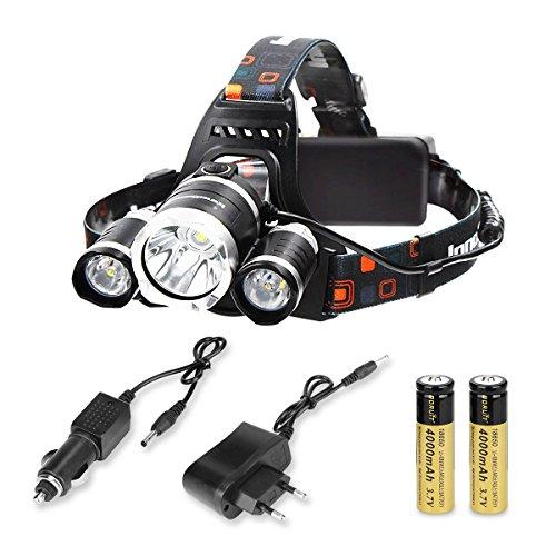 AFAITH LED Stirnlampe, Wiederaufladbare Super Helle 5000LM 3x CREE LED Stirnlampe,T6 LED Kopflampe Front Motorrad Stirnlampe,ideal für Nacht lesen, Camping, Angeln, Abenteuer,Klettern,Fahrrad SA013