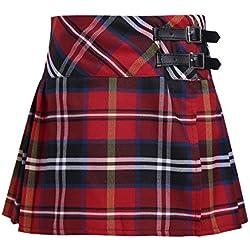 Alvivi Falda Mini del Verano Escocesas a Cuadros de Escocia Falda Plisada Básica de Uniforme Escolar Algodón Tartán Niña Rojo 14 años
