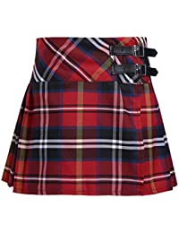 0f7e078a6 iEFiEL Big Girls' High Waist Pleated Plaid Tartan Skirt Kilt Side Split  Wrap Dress with