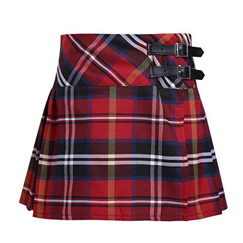 iiniim Falda Niña Ropa Verano Escocesas Cuadros Escocia Falda Plisada Básica con Hebilla Uniforme Escolar Algodón Tartán para Niñas Chicas 4 a 14 Años Rojo 8 Años
