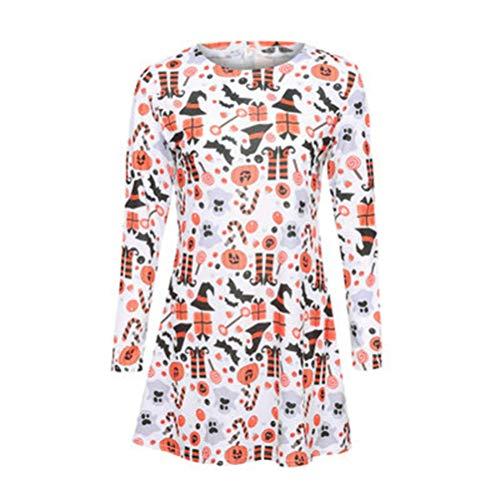 YUFAA Halloween Langarm Rundhalsausschnitt ausgestelltes Pullover Swing Party Minikleid Schickes Kleid (Color : Orange, Size : ()