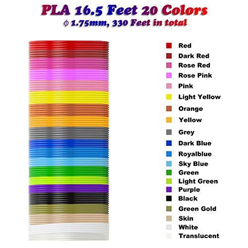 3D Stift Filament PLA, 20 Farben, je 10M – 3D Pen PLA Filament 1,75mm, 3D Stift Farben Set für 3D Druck Stift (20 Colors, 328 Ft insgesamt) - 3