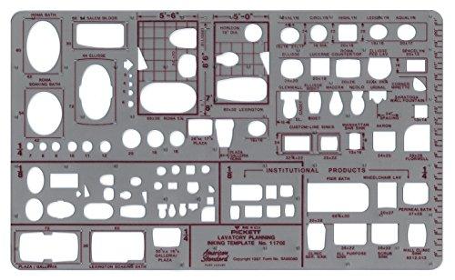 Pickett Isometrische Sechskantmuttern und Köpfe Schablone 3 Badezimmer-Planer - 1/8 und 1/4 Zoll (3,18 und 6,35 mm) -