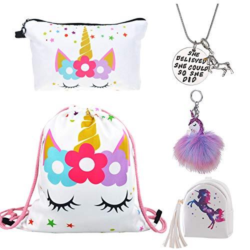 DRESHOW Confezione da 5 unicorno Regali per ragazze Unicorno Coulisse Zaino/Confezione Borsa/Collana/Fluffy Portachiavi/Bracciale Set da regalo per feste natalizie
