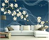 YUANLINGWEI Kreative Decor Customization Mural Chinesischen Stil Magnolia Blumenmuster Wohnzimmer Tv Sofa Hintergrund Wandmalerei Tapete,210Cm (H) X 290Cm (W)