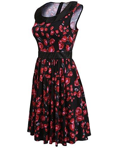 cooshional Femmes Robe Vintage Casual Collier De Poupée Sans Manches Imprimé Floral Couleur Contrastée Robe A-Line Plissé Noir