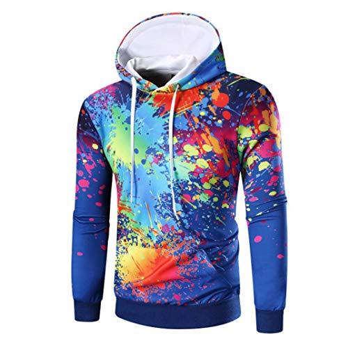ITISME Herren Pullover Langarm Digital Print Hoodie Kapuzen-Sweatshirt Tops Mantel Outwear Camouflage Dunkelrot Elegant -