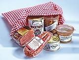 Ammerland-Präsent Nr. 9 mit Katenschinken nach alter Bauernart, Frühstücksfleisch in Gelee, Eisbein in Aspik, Ammerländer Mockturtle, eine Dose Hausmacher Mettwurst, gekocht, Ammerländer Mettwurst im Ring