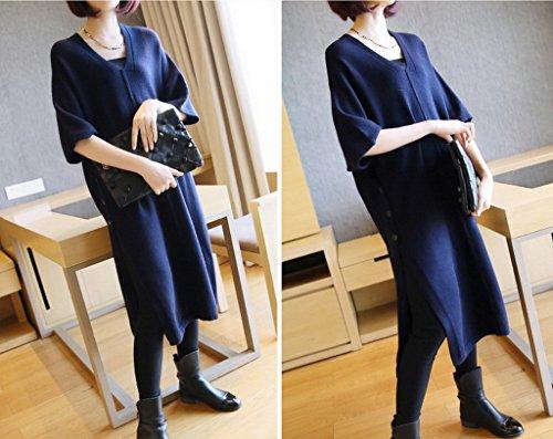 Smile YKK Robe Pull Femme Hiver Haut Tricot Sweat-shirt Mi-long Col V Sweat Fendu Bleu