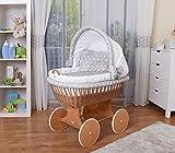 WALDIN Baby Stubenwagen-Set mit Ausstattung,XXL,Bollerwagen,komplett,26 Modelle wählbar,Gestell/Räder lackiert,Stoffe weiß/Sterne-weiß