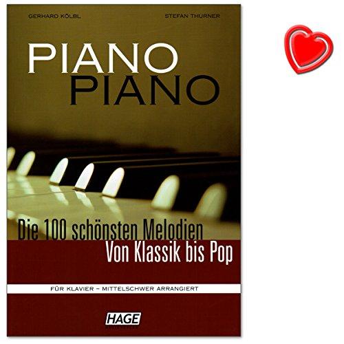 Piano Piano 1mittelschwer–100plus belles Mélodies de classique à Pop–pour Piano–Note livre avec cœur Note colorée Pince–La Musique Verlag Hage: eh3643–ISBN: 9783930159888