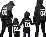Minetom Familie Ausgestattet Papa Sohn Mama Tochter Kinder King Queen Prince Princess Brief Gedruckt Sweatshirt mit Kapuze Herbst Pullover Hoodies Kapuzenpulli Tops Schwarz 120 (Sohn)