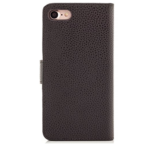 Saxonia Tasche iPhone 7 Hülle Flip Case Schutzhülle Cover Handytasche Wallet mit Kartenfach Braun Braun
