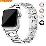 [New Release] For Apple Watch Strap 38mm & 42mm Band, Mornex Iwatch Straps Bracelet Replacement Stainless Steel Metal Accessories for Men & Women for Apple Smart Watch Series 3, Series 2, Series 1 (Silver-38mm)