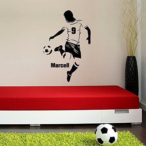 malango® Wandtattoo Fussballer mit Wunschname Spieler Ball Fussballfan Wanddekoration Fussballspieler Name Fan Sport Freizeit Hobby Wanddesign ca. 40 x 60 cm rot