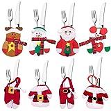 8 Piezas Bolsa de Cubiertos de Navidad, Rojo Medias De Navideño Comida Bolsas De Mesa, Adornos Navideños, Santa Muñeco De Nieve Renos, Cuchillos Bolsas Bolso Muñeco de Nieve Santa Claus