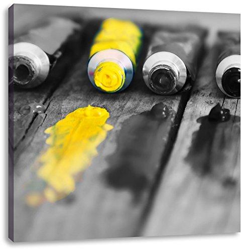 Pixxprint tubo di vernice gialla 70x70 cm stampa su tela decorazione