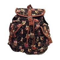 Girls Ladies Animal Owl Print Canvas bag Rucksack Backpack School bag (Black)