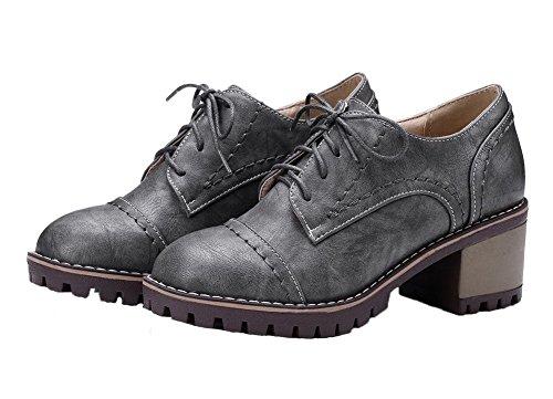Cuir Correct Talon Gris à PU Légeres Unie Femme VogueZone009 Lacet Chaussures Couleur tnOqa8Cw