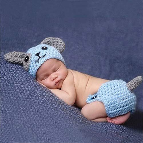 W&P wp Neugeborene Fotografie Kostüm Babypullover handgewebte blauen Welpen Set