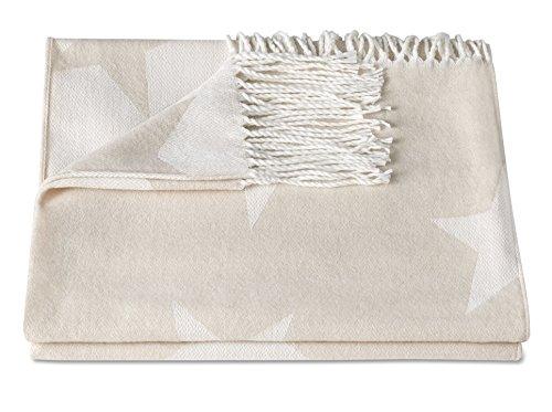 ZOLLNER® Reisedecke / Kuscheldecke / Wolldecke / Wohndecke / Plaid / Decke mit Fransen 130x170 cm beige, in weiteren Farben erhältlich, direkt vom Hotelwäschespezialisten, Serie
