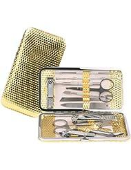 Molain 12 pcs Set de Coupe-ongles Outil de Manucure Pédicure Soin avec Ciseaux en acier inoxydable - Nail Kit