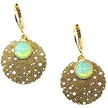 Ohrringe mit Lasrecut und jadefarbenem Stein aus Glas/ Komplett vergoldet/ Durchmesser 1,8 cm