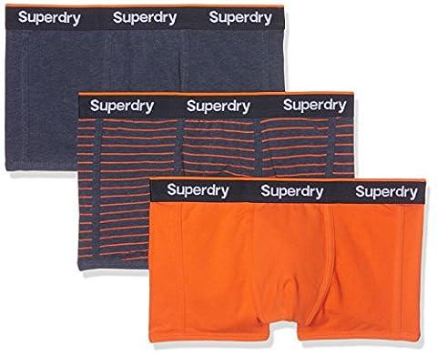 Superdry Herren Sportunterwäsche Sport Trunk Stripe Triple Pack Blu (Navy Marl/Havana Orange), Large