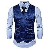 Showu Chalecos Hombre Paisley Elegante Formal Negocios Slim Fit Waistcoat (Azul, L)