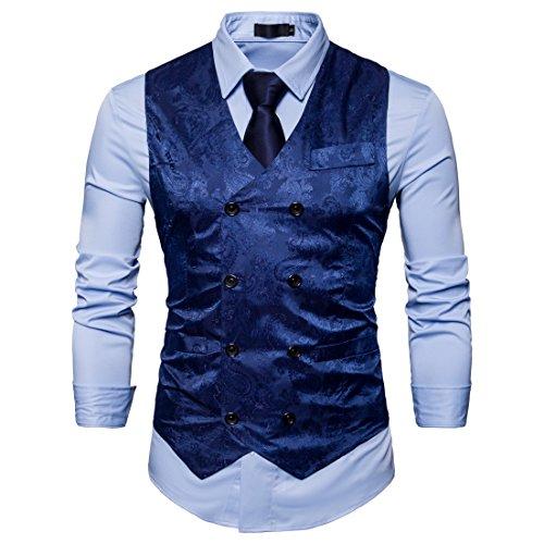 Showu Herren Paisley Weste Slim Fit Geschäft Hochzeit Elegant Anzugweste Stil Blazer (Blau, M) -