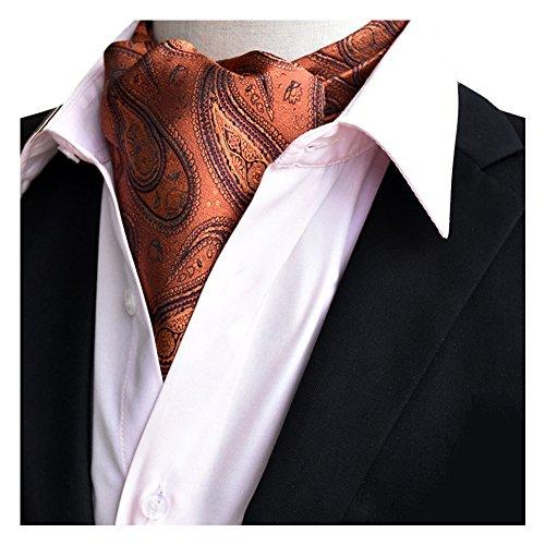 YCHENG Ascotkrawatte Gemustertes Quadratische Herren Bandana Tuch Halstuch Ascot Krawatte Gold 118*16*5.5cm