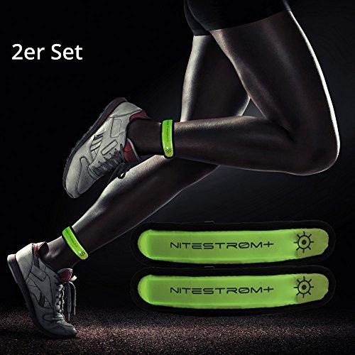 ZNEX LED Armband Leuchtarmband für Sport & Outdoor, 2er Set grün/grün. Hell leuchtendes LED Jogging Fahrrad Licht Warnlicht Blinklicht für hohe Sichtbarkeit im Dunkeln