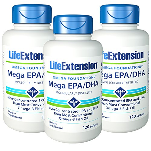 3 x pack Life Extension Mega EPA/DHA, Softgels, 120-Count by Life Extension