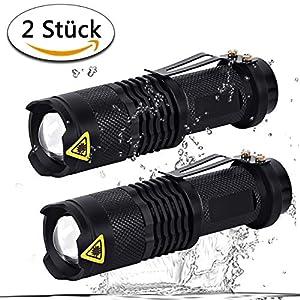 LED Taschenlampe, 2 Stück Set SK68 superhell taktische Taschlampe wasserdicht mit 6 Lichtmodi einstellbare Fokus für Wandern,Campen,Fahrradfahren,Sport (schwarz)