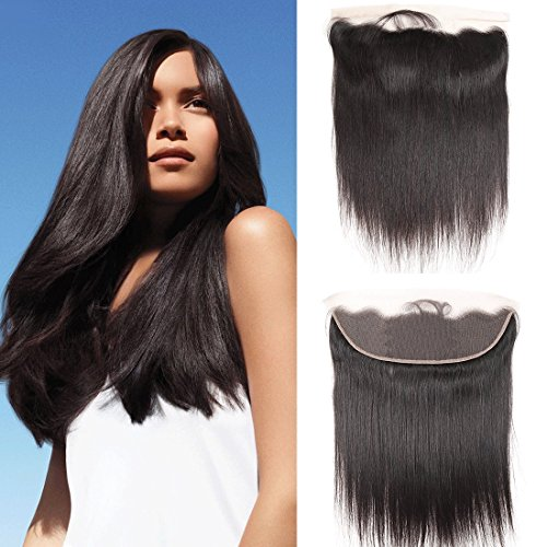Dai Weier Brazilian Hair Straight Lace Closure Frontal 13x4 Unprocessed Bleached Knots Remi Brasilianische Echte Haare Glatt Cheap for Black Women 18 zoll -
