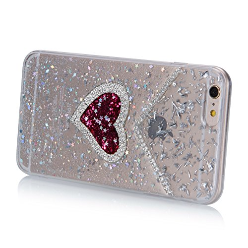 Coque iPhone 6 Plus Miroir, iPhone 6S Plus Coque Brillante, SainCat Ultra Slim TPU Silicone Case pour iPhone 6/6S Plus, Bling Bling Glitter Strass Diamant Anti-Scratch Soft Gel Silicone 3D Transparent Moins de Flash Rhombique