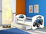 Clamaro 'Fantasia Weiß' 180 x 80 Kinderbett Set inkl. Matratze, Lattenrost und mit Bettkasten Schublade, mit verstellbarem Rausfallschutz und Kantenschutzleisten, Design: 42 Traktor