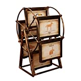 DWCC Ferris Wheel Bronze Photo Frames 5-Inch Picture Frame Album Shabby Chic Style Very Ornate Antique 12 Multi Picture Frame Set Wedding Personality Swing Table, Wood